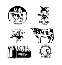 Milk logo and emblems set vector