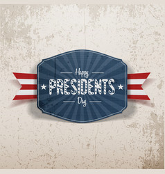 Happy presidents day retro blue banner with ribbon vector