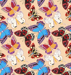 Seamless background decorative colored butterflies vector