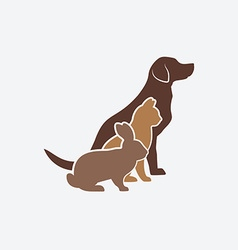 Pets silhouettes dog cat and rabbit logo of pet vector