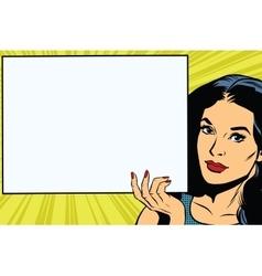 Brunette girl holding a blank rectangular poster vector