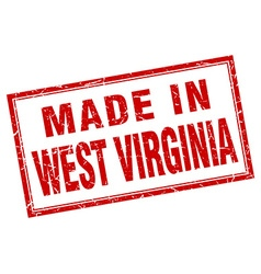 West virginia red square grunge made in stamp vector