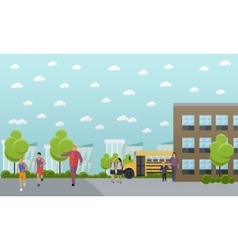 School concept banner college yard vector