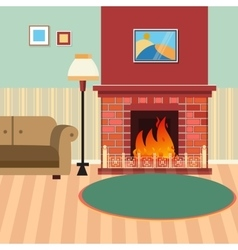 Luxury living room interior with fireplace vector