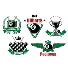 Billiards icons with game items vector image vector image