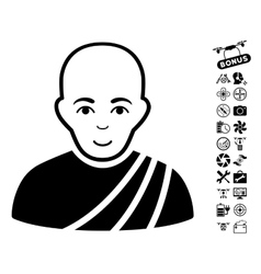 Buddhist monk icon with copter tools bonus vector