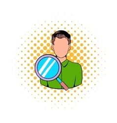 Businessman and magnifying glass icon vector image vector image