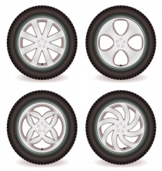 car wheel collection vector image