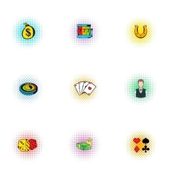 Casino icons set pop-art style vector