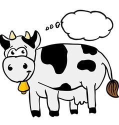 Cow with thought bubble vector