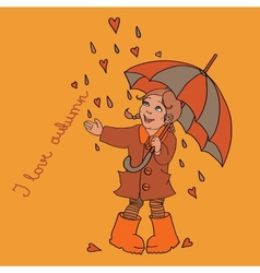 Cute little girl with umbrella background for your vector image vector image