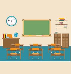 empty classroom interior with blackboard vector image