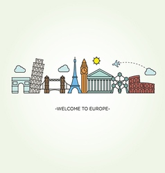 Europe skyline silhouette line style vector