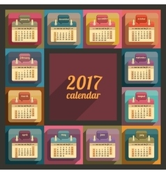 Flat calendar 2017 year design vector