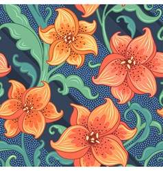 flower pattern lily blue vector image vector image