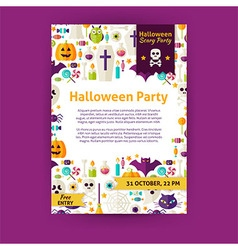 Halloween Party Holiday Invitation Template Flyer vector image vector image