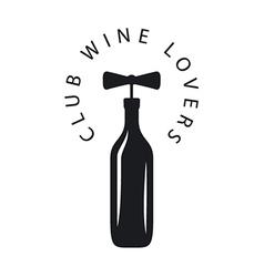 logo bottle of wine with corkscrew vector image vector image