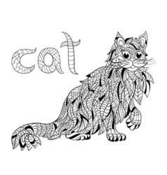monochrome hand drawn zentagle of cat Coloring vector image vector image
