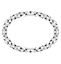 oriental floral ornamental black oval frame vector image