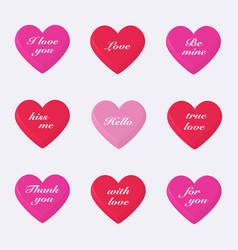 Set of 3d valentines hearts vector