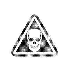 Skull warning sign with pixel print halftone dots vector image vector image