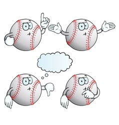 Thinking baseball set vector image