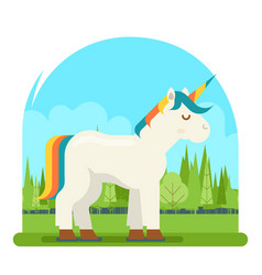 unicorn fantasy horse wood background cartoon vector image vector image