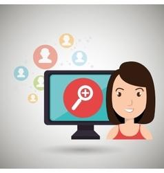 woman social media apps vector image vector image