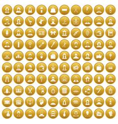 100 hairdresser icons set gold vector