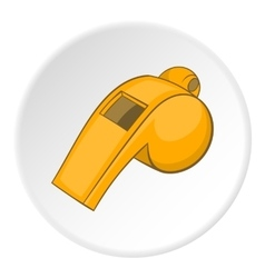 Yellow sport whistle icon cartoon style vector