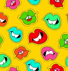Hand drawn girl mouth patch icon seamless pattern vector