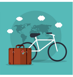 bicycle travel suitcase world vacation vector image