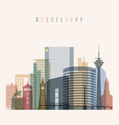 Dusseldorf skyline detailed silhouette vector