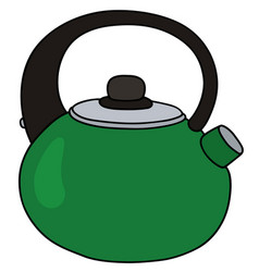Green metal teapot vector