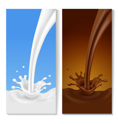 Realistic splash flowing milk chocolate banners vector