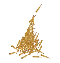 Stack of rifle bullets on white background vector