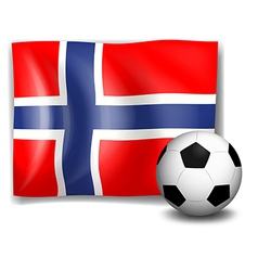 The flag of norway with a soccer ball vector