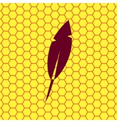 Feather retro pen icon symbol flat modern web vector