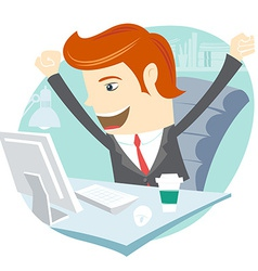 Happy office man sitting at his working desk vector