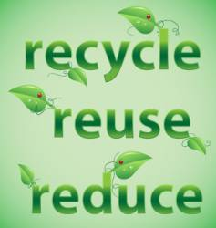 Recycle reuse reduce leafy font vector