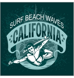 Surfing - label and elements vector