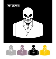Mr death skull wearing businessman skeleton in an vector