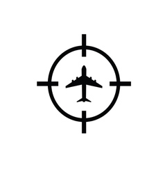Airplane on target icon vector