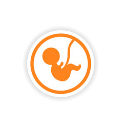 Paper sticker on white background child in womb vector