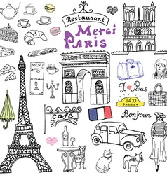 Paris doodles elements hand drawn set with eiffel vector