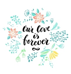 Hand drawn valentines day design with lettering vector