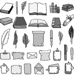 Big set books and pen vector