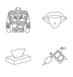 body tattoos piercings napkins tattoo machine vector image vector image