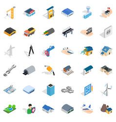 Building icons set isometric style vector