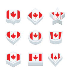 Canada flags icons and button set nine styles vector